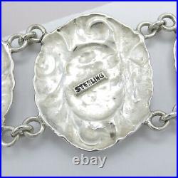 Vtg Art Deco Sterling Silver Repousse HOLLY LEAF Flower Wide Bracelet