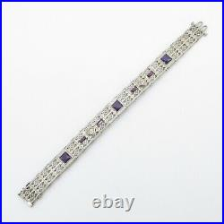 Vtg Signed Art Deco Sterling Silver Filigree Amethyst Glass Paste Line Bracelet
