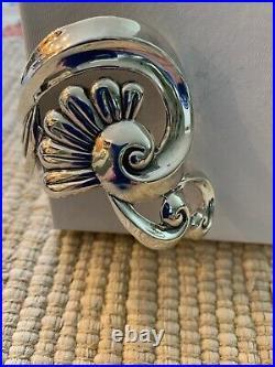 Vtg Villasana Mexico Sterling Art Deco Swirls Repousse Clamper Bracelet TAXCO