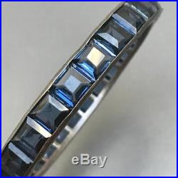 WIDE Vintage Art Deco Channel Sapphire Paste Glass Silver Hinged Bangle