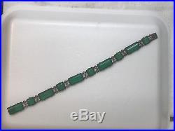 Wachenheimer Vintage Art Deco sterling silver green onyx bracelet