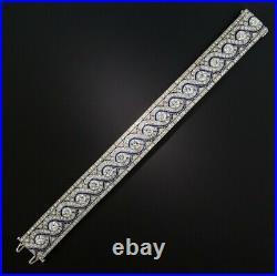 Wide Art Deco Solid 925 Silver 23.5CT White CZ & Calibre Sapphire Women Bracelet