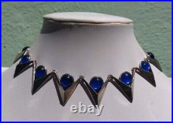 Wow Signd Deco Vintage Mexico Sterling Blue Glass Necklace Bracelet Earrings Set